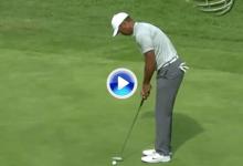 Tiger salió con doblebogey del hoyo más fácil del sábado tras marrar dos putts de un metro (VÍDEO)