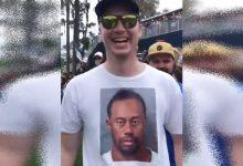 Un fan le sacó a Tiger una sonrisa después de imprimirse la foto de su detención en una camiseta