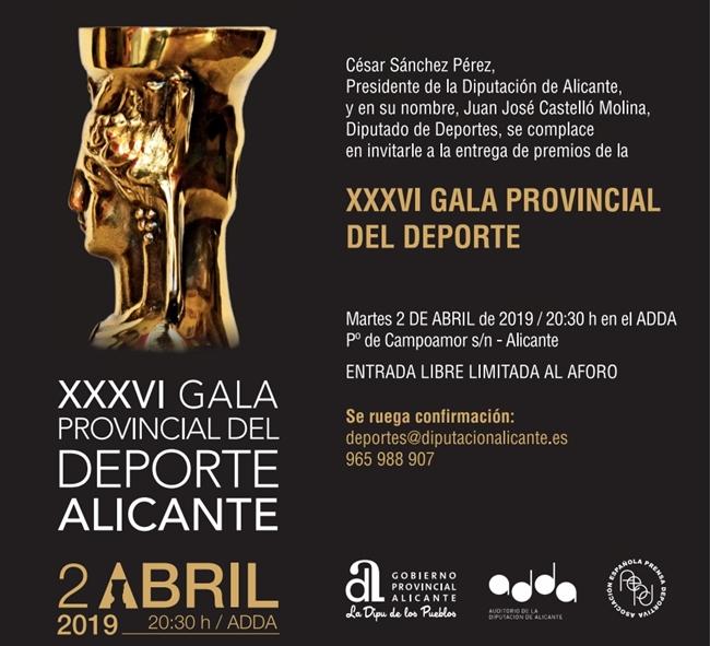 Invitación a la XXXVI Gala provincial del Deporte Alicante