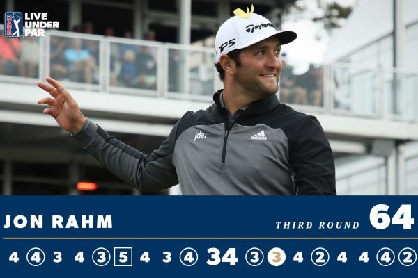 Jon Rahm sonríe después de una vuelta para el recuerdo en Florida. Foto: @PGATour