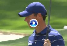 Rory mostró su vitola de favorito tras lograr este largo putt en el 16 que le servía para bajar del par
