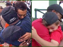 Entre el abrazo del padre al hijo y el abrazo del hijo al padre pasaron 22 años ¡Todo emoción!