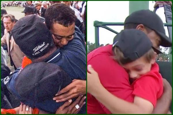 Imagen con los dos abrazos, el primero en 1997 con su padre, y el de este domingo con su hijo