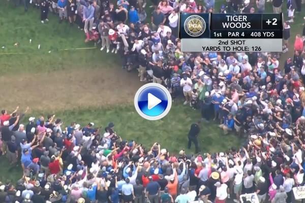 ¡Vaya 4 de Tiger Woods! El californiano se fabricó un par en el primer hoyo de Bethpage sin tocar la calle