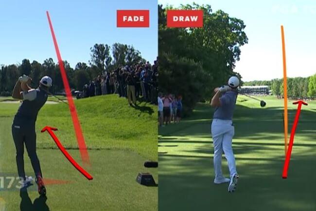 Vea y compare el «fade» de Dustin Johnson frente al «draw» de Rory McIlroy desde el tee y con driver