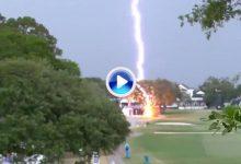 ¡Brutal! Un rayo cae en mitad del US Women's Open sobre un árbol. Todo fue captado por la televisión