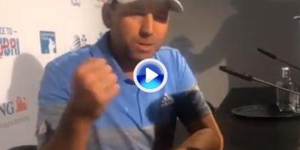 Sergio García también sacó el puño para celebrar la victoria del equipo europeo en la Solheim Cup