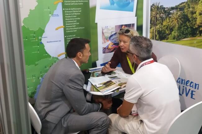 Un momento de trabajo en el stand de la Comunitat Valenciana en la IGTM 2019