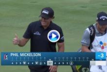 ¡¡BRU-TAL!! Mickelson se quedó a 20 cms. de hacer Hoyo en Uno (albatros) en un par 4 desde 323 mts.