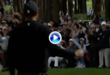 Tiger Woods se subió al liderato en Japón con este espectacular purito en su antepenúltima bandera