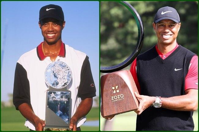 Tiger Woods con el primer trofeo y el 82. Foto @PGATour