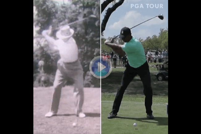El swing en color de Tiger ante el de B/N de Snead, dos campeones con el record de victorias en el PGA