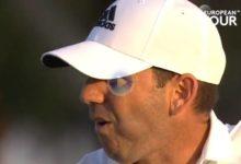 El Golf es duro… Este approach de Sergio García se salió de la cazoleta para eagle y casi se va al agua
