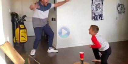 Padre e hijo se complementaron de forma perfecta en este Golpe de Fantasía realizado dentro de casa