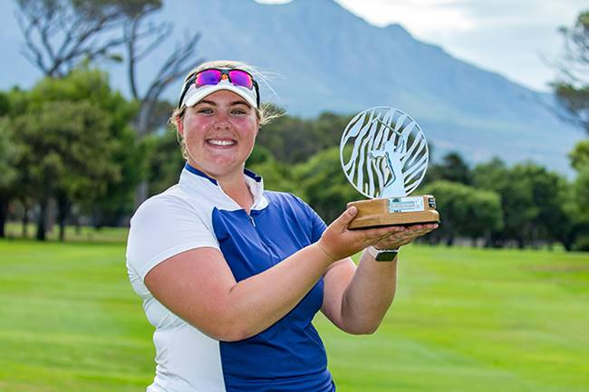 14/03/2020. Ladies European Tour 2020. Investec South African Women's Open. Westlake Golf Club, Westlake, Cape Town, South Africa. Mar12-14 2020 Alice Hewson of England with her trophy. Credit: Tristan Jones