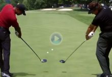 Zurdo y diestro: Disfrute del swing cara a cara de Mickelson y Tiger en este montaje del PGA Tour