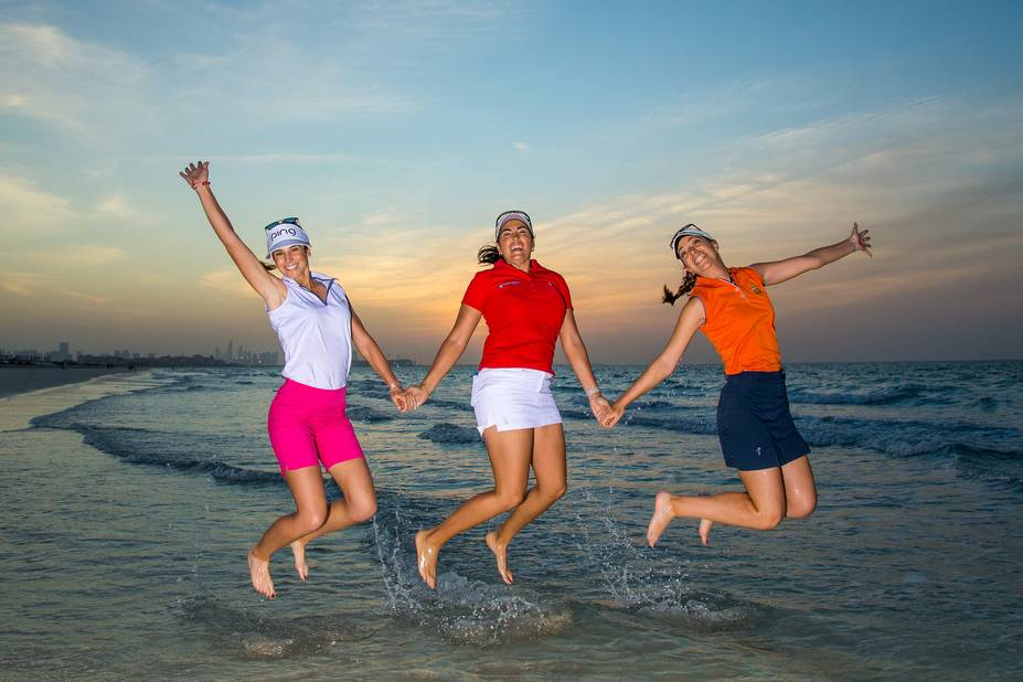 Noemi Jimenez Martin, Carmen Alonso and Silvia Banon of Spain during a photoshoot on the beach