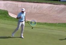 Sebas García sacó el puño en el 18 para reafirmar su liderato en el English Open con este gran purazo