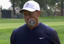 El Golf es duro y cruel: Tiger Woods sufrió esta gran corbata cuando pensaba que su bola estaba dentro