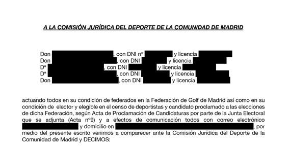 Escrito Madrileños por el Golf Junta Electoral