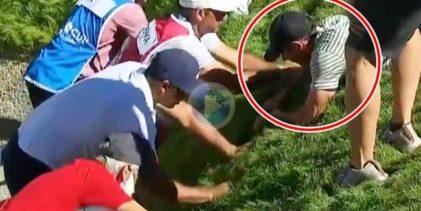 McIlroy, tumbado, y otras ¡10 personas! ayudaron a Koepka a hallar una bola incrustada en el rough
