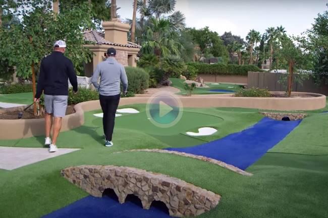 Joel Dahmen (PGA) y Brian Urlacher (NFL) jugaron unos hoyos en el Augusta National ¡¡de Mini Golf!!