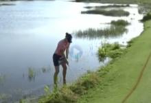 Este approach de Anne van Dam con los pies en el agua es candidato a uno de los golpes del año