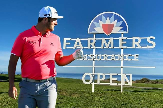 Jon Rahm en el Farmers Insurance Open valla