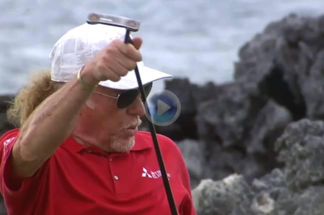 Miguel Ángel Jiménez volvió a hacer de las suyas en Hawaii «envainando» su putt tras este gran purito