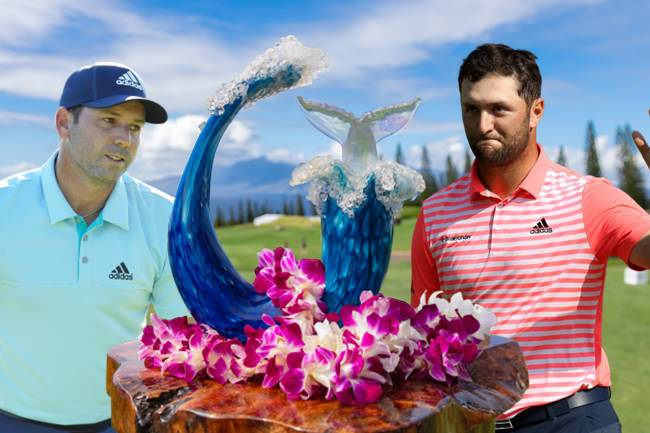 Sergio Garcia y Jon Rahm con el Trofeo Tournament of Champions