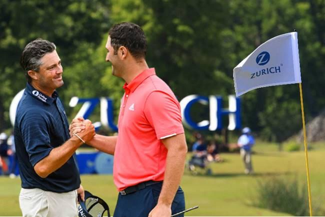 Jon Rahm y Ryan Palmer Zurich Classic bandera. Foto @PGATour