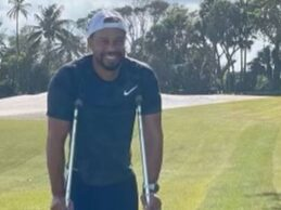 Tiger publica su primera foto en muletas y con la férula ortopédica en la pierna tras su accidente