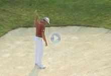 Sergio dio una clase magistral de cómo jugar desde el bunker. Llevó la bola al agujero desde la arena