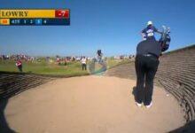 El Golf es duro… Lowry pegó un golpe de apenas un metro para poder jugarla al estar pegada al talud