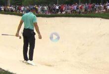Sergio necesitó de tres golpes para salir del bunker. Un doblebogey que lo puso contra las cuerdas