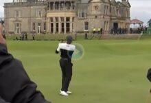 Javier Ballesteros consiguió el Golpe del Día en el Old Course de St. Andrews tras dejar la bola dada