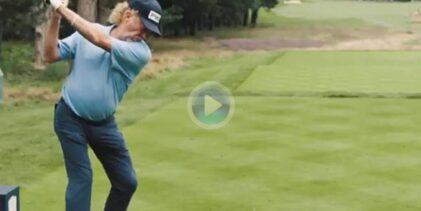 Así es el swing de Jiménez a sus 57 años. El andaluz, el 5º jugador con más cortes en el BMW PGA Champ
