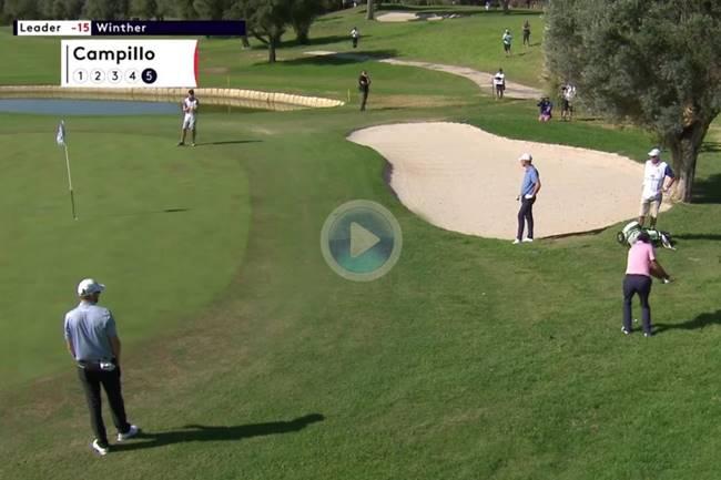 Jorge Campillo sacó el chip perfecto desde el rough con el que salvó el par en el Mallorca Golf Open