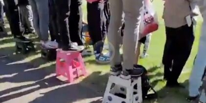 Los asistentes del ZOZO Championship utilizaron escaleras para poder seguir de cerca a Matsuyama